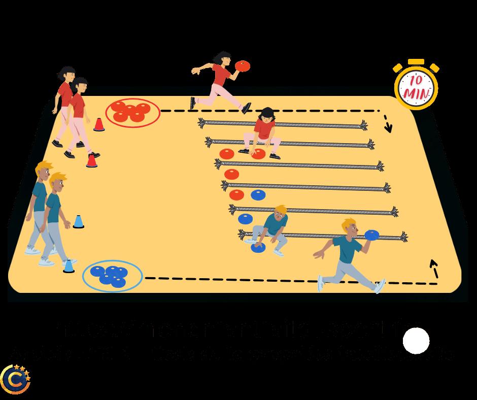 Puissance 4 sportif - Jeu de relais pour enfant - Ludique